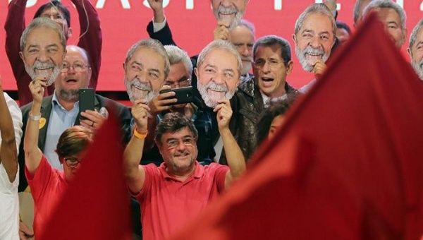 Supporters of Lula da Silva during the event in which his candidacy was officially announced by the Workers