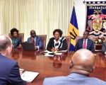 Barbados' Prime Minister Mia Mottley (center back) meets with IMF reps.