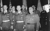 German General Karl Wolff, SS Reichsfuhrer Heinrich Himmler and Spanish General Francisco Franco, in Madrid, Spain.