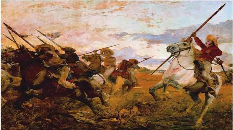 """En """"Vuelvan Caras"""", elaborado en 1890, Michelena plasma el episodio de la Batalla de Las Queseras del Medio, en el momento en que José Antonio Páez ordena a sus jinetes dar la vuelta para atacar a la caballería española que los perseguía."""