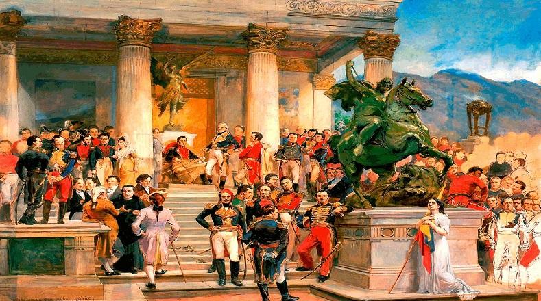 """""""El panteón de los héroes"""", pintada en 1898, fue creada por el pintor venezolano por la solicitud del presidente Joaquín Crespo. Para entonces Michelena tenía graves afectaciones de salud y la culminó postrado en cama."""