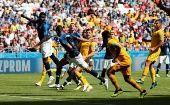 Samuel Umtiti handles the ball and concedes a penalty during France
