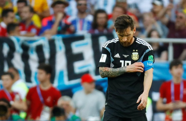 Argentina's Lionel Messi reacts after the match.