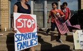 People participate in a protest against recent U.S. immigration policy in front of a Homeland Security facility in Elizabeth, NJ, June 17, 2018.