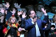 Gustavo Petro accompanied by relatives as he addresses supporters after being defeated by Duque in Colombia's presidential election, in Bogota, Colombia, June 17, 2018.