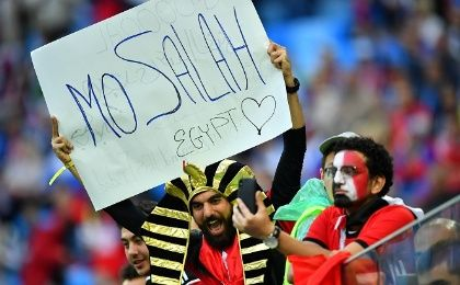 Egypt fans with a banner in reference to Mohamed Salah before the match.