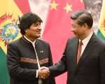Bolivia's President Evo Morales (L) meets with his Chinese counterpart Xi Jinping.