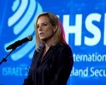 U.S. Secretary of Homeland Security Kirstjen Nielsen speaks during the International Homeland Security Forum conference in Jerusalem, June 12, 2018.