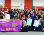 Feminist groups gathered outside the ANC in Caracas, Venezuela.