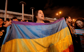 People celebrate after the Inter-American Court of Human Rights called on Costa Rica to recognize equal marriage.