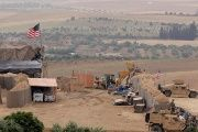U.S. forces set up a new base in Manbij, Syria, on May 8, 2018.