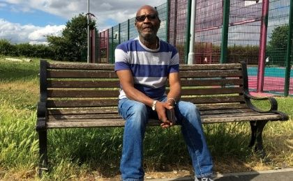Winston Robinson, aged 60 and part of the Windrush generation of immigrants to Britain, in his local park in Tottenham.