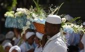 An offering is provided to Iemanja during a Candomble ceremony in Rio de Janeiro, Brazil.