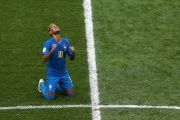 Neymar, overcome by emotion on the whistle, covered his face with his hands as tears streamed down his cheeks.