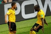 Belgium's Eden Hazard celebrates scoring their fourth goal with Romelu Lukaku.