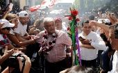 Leftist front-runner Andres Manuel Lopez Obrador of MORENA greets supporters during a campaign rally in Uruapan, in Michoacan state, Mexico, June 8, 2018.