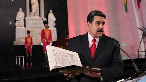 Venezuelan President Nicolas Maduro speaks during the national journalist award ceremony.