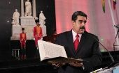 Venezuelan President Nicolas Maduro speaks during the national journalist award ceremony.