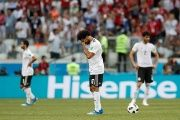 Egypt's Mohamed Salah looks dejected during Saudi Arabia vs Egypt in the Volgograd Arena, Russia, on June 25, 2018.