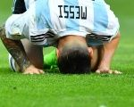 Argentina's Lionel Messi looks looks dejected as Argentina's fails to advance in the World Cup Saturday