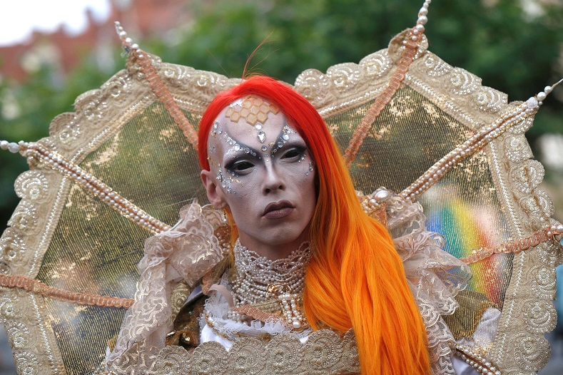 Hundreds of miles away, in Ljubljana, Slovenia, revellers participate in the city's own Gay Pride Parade.