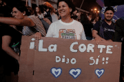 People celebrate after the Inter-American Court of Human Rights called on Costa Rica and Latin America to recognize equal marriage, in San Jose, Costa Rica, January 9, 2018. The sign reads:
