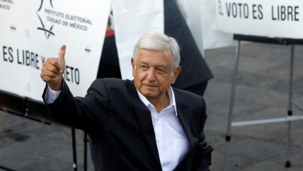 Presidential candidate Andres Manuel Lopez Obrador gestures after casting his ballot at a polling station during the presidential election in Mexico City, Mexico July 1, 2018.