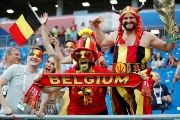 Belgium fans inside the stadium before the match.