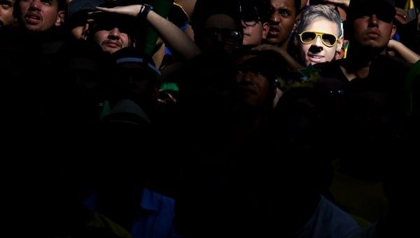 Brazil vs Mexico in Sao Paulo, Brazil - July 2, 2018 - A fan wearing a Neymar mask is seen during the broadcast of the FIFA World Cup soccer match