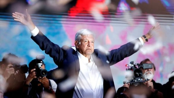 President elect Andres Manuel Lopez Obrador (AMLO) addresses supporters after polls closed in the presidential election, in Mexico City, Mexico July 2, 2018.