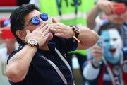 Diego Maradona in the stands before the match between France and Argentina in Kazan, Russia. June 30, 2018.