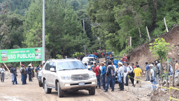 The road blockade in San Juan Sacatepequez was installed on February 2018 to prevent the construction of the regional ring road