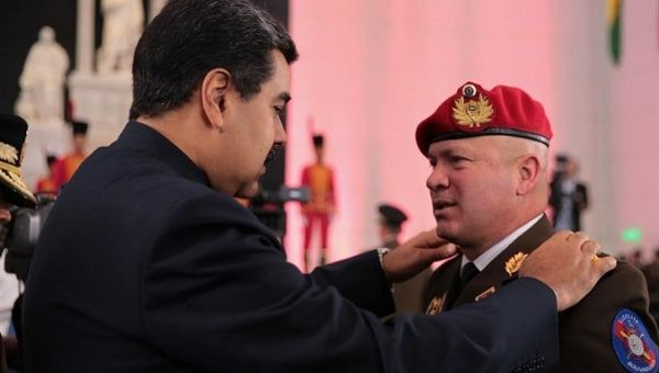 Nicolas Maduro during a military ceremony promoting members of the armed forces.