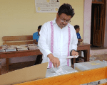 Adelfo Regino Montes voting during the July 1 general elections in Alotepec, Oaxaca.