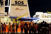 Migrants disembark from the MV Aquarius, a search and rescue ship after it arrived in Augusta on the island of Sicily, Italy, January 30, 2018.