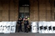 Police officers stand next to riot police shields during elections in Mexico City, Mexico July 1, 2018. Picture taken July 1, 2018