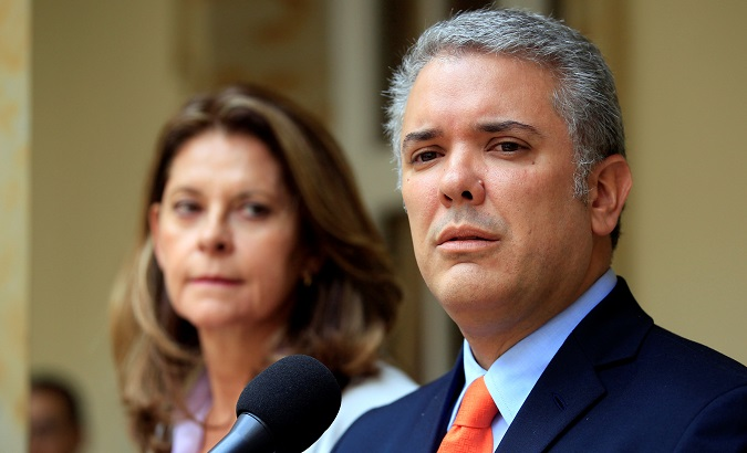 President-elect Ivan Duque addresses the media next to Vice President-elect Marta Lucia Ramirez in Bogota, Colombia June 21, 2018.