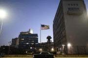 Dusk a the U.S. Embassy in Havana, Cuba, January 12, 2017