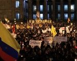 Colombians protest against the killing of social activists, in Bogota.
