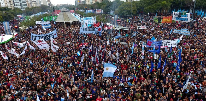 """Let's break the shackles of a swift and brutal cycle of external indebtedness that seeks to condemn generations of Argentines to pay for the businesses made by the few,"" the organizations said."