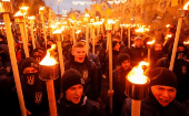 Ukrainian nationalist and far-right groups take part in a rally to mark Defender of Ukraine Day in Kiev, October 14, 2017