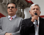 Mexico's President-elect Andres Manuel Lopez Obrador and his designated foreign minister Marcelo Ebrard hold a news conference in Mexico City, Mexico July 10, 2018.