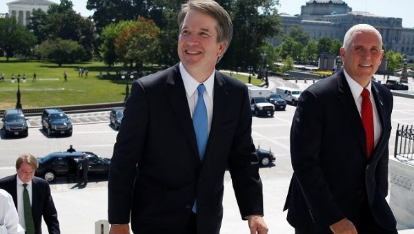 Supreme Court nominee Brett Kavanaugh arrives at Capitol Hill with fierce anti-choice vice president Mike Pence.
