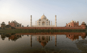 The historic Taj Mahal is pictured from across the Yamuna river in Agra, India, May 20, 2018.