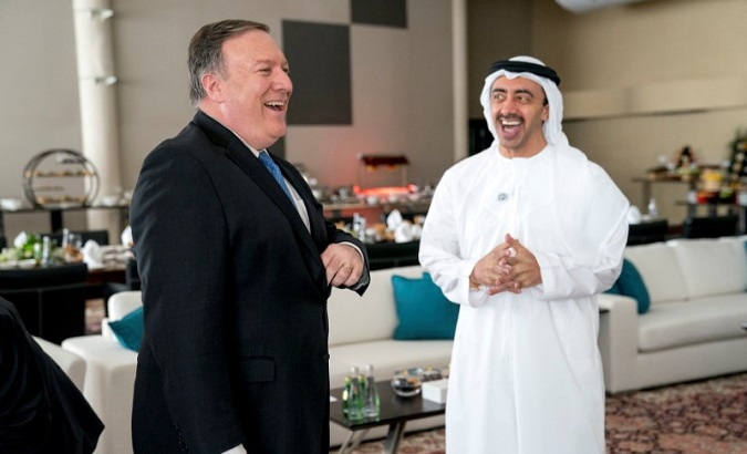 U.S. Secretary of State Mike Pompeo and United Arab Emirates Foreign Minister Sheikh Abdullah bin Zayed Al Nahyan in Abu Dhabi, UAE, July 10, 2018.