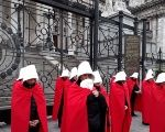 Women in Argentina hold symbolic protest outside the senate to demand legal abortions.