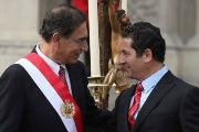 Peru's President Martin Vizcarra and his former Justice Minister Salvador Heresi at Heresi's swearing ceremony at the government palace in Lima, Peru April 2, 2018.