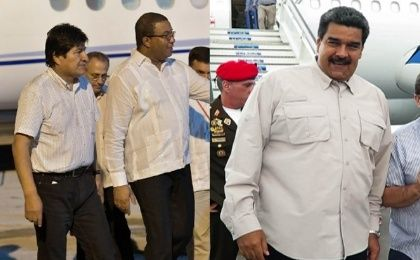 Evo Morales (L) and Nicolas Maduro (R) arrive in Havana to honor Fidel Castro