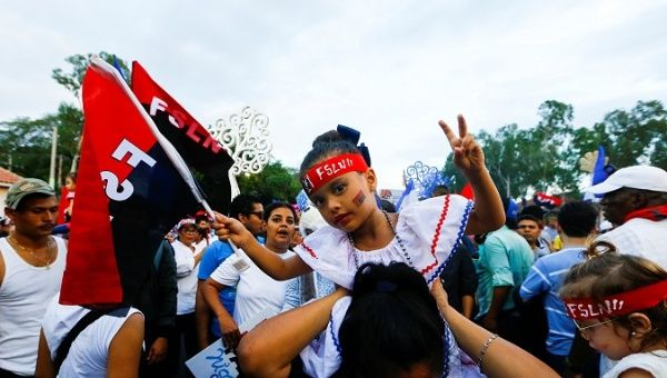 Supporters of the Sandinista National Liberation Front (FSLN) during the 39th anniversary of the