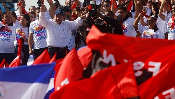 "President Ortega told thousands of supporters: ""Peace must be defended every day to avoid situations like these being repeated."""